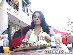 Huge tits chloe veria eats at an outdoor restaurant tubes