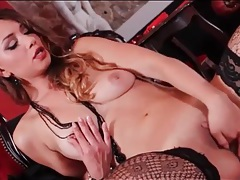 Smoking hot stockings on a hot brunette tubes