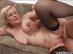 Blonde mature has hot sex in stockings tubes