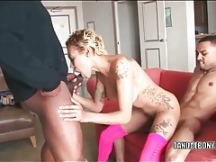 Inked black girl fucked by two ebony dudes tubes