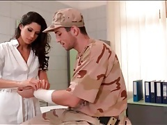 Soldier gets a blowjob from a gorgeous nurse tubes
