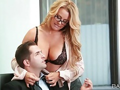 Hot secretary in blouse blows her boss tubes