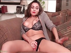Milf unbuttons her sexy cardigan sweater tubes