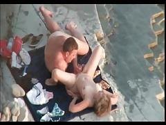 Fat guy fucks his wife on the beach tubes
