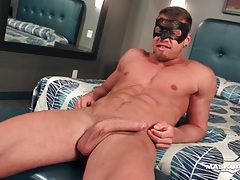 Flawless muscular guy jerks off his dick tubes