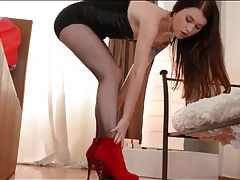 Lusty misha cross teases in dress and heels tubes