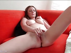 Big breasts solo girl masturbates her vagina tubes