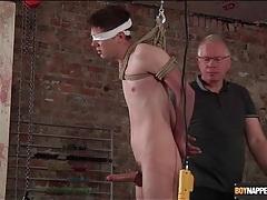 Daddy jerks off bound boy in bdsm video tubes