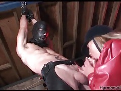 Pony play and sloppy cocksucking in threesome tubes