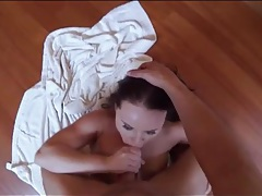 Brunette sucks dick on the kitchen floor tubes