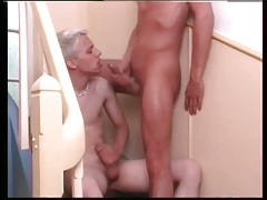 Bleach blonde boy bent over and ass fucked tubes