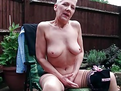 Old lady teases in sheer panties outdoors tubes
