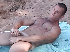 Pierced nipple gay guy jerks off on the beach tubes