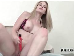 Big tits beauty in bikini top fucks a toy tubes