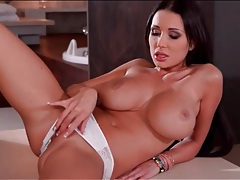 Beautiful girl plays with her big breasts tubes