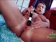 Vibrator makes masturbating brunette moan tubes