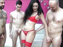 Slut sucks and fucks three guys to orgasm tubes