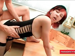 Fishnets girl licked and fucked from behind tubes