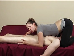 Girl in tight yoga pants gives a blowjob tubes