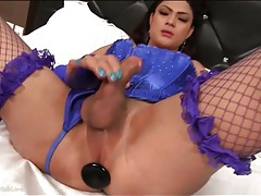 Butt plug fills the ass of ladyboy in lingerie tubes