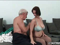 Grandpa seduces a big tits babe and licks her tubes