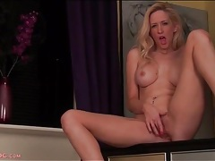 Solo blonde with sexy implants masturbates tubes