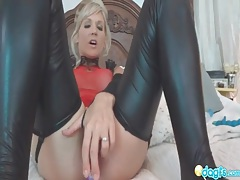 Shiny spandex stockings on toy fucking amateur tubes