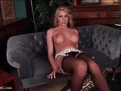 Danielle maye masturbates in black stockings tubes