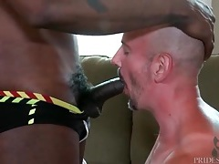 Hot black stud gives white guy a sexy rimjob tubes