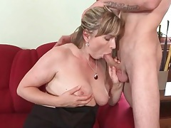 Mature in a beautiful dress sucks cock tubes