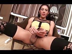 Masturbating asian shemale in stockings tubes