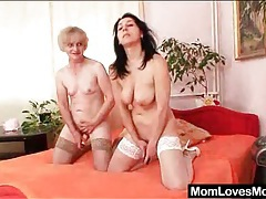 Grandma tongue tenderly licks milf pussy tubes