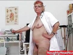Nurse grandma toy bangs her hairy pussy tubes