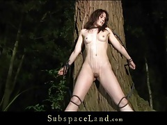 Fit bound girl flogged on the ass outdoors tubes