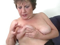 Granny is a fox in black fishnet stockings tubes
