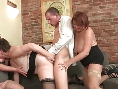 Three chubby old ladies share his young dick tubes