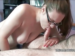Curvy cocksucking cutie in a pair of glasses tubes