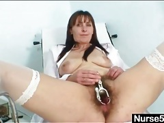 Hairy nurse pussy opened by her speculum tubes