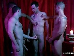 Four guys cum on the bottom in circle jerk tubes