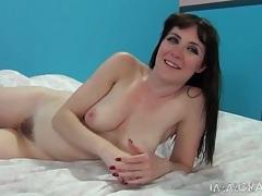 Blue eyed brunette beauty masturbates and chats tubes