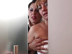 Sultry lesbian kissing and tit fondlin tubes