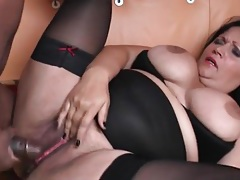 Black guy fucks a slutty bbw and cums on her tubes