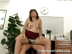 Hairy milf in a thong rides his hard dick tubes