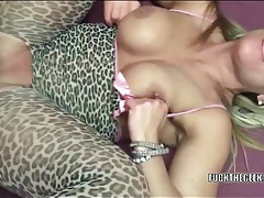 Mom in animal print body stocking gets laid tubes