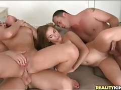 Four naked bodies writhe in sexy fuck video tubes