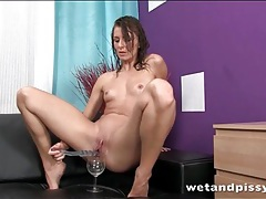 Teen pees while fucking a toy tubes