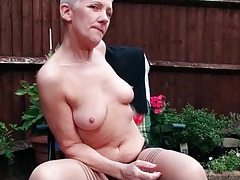 Granny masturbates and pisses outdoors tubes