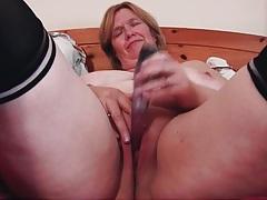 Solo mature dildo sex in black stockings tubes