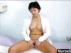 Sexy mature doctor shows inside her cunt tubes