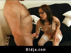 Glasses and stockings on hottie fucking old guy tubes